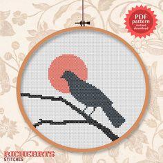 Blue grey bird silhouette - decorative hoop art  -  PDF Cross stitch pattern