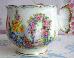 Lovely teacup with butterfly handle