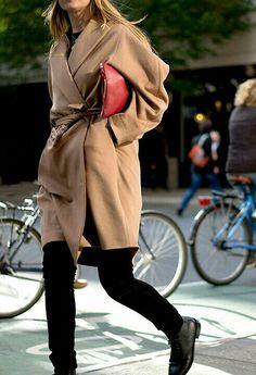 camel coat & black leggings