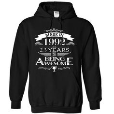 Made In 1992-23 Years Of Being Awesome !!! - #sweatshirt men #sweater coat. BUY TODAY AND SAVE => https://www.sunfrog.com/Birth-Years/Made-In-1992-23-Years-Of-Being-Awesome-5279-Black-12428952-Hoodie.html?68278
