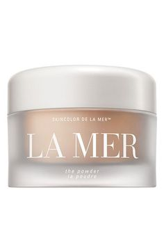 La Mer 'The Powder'.... one powder to rule them all!  It absolutely wont make you look dry or powdery. Theres magic in this formula and the jar is huuuuuge. Pricey, but itll last you years. Works amazing under the eyes, too
