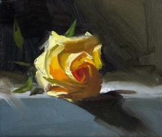 Yellow Rose, original painting by artist Qiang Huang | DailyPainters.com