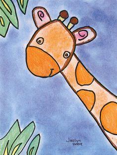 Giraffe art drawings for kids, drawing for kids, painting for kids, giraffe painting Art Drawings For Kids, Drawing For Kids, Painting For Kids, Easy Drawings, Art For Kids, Kindergarten Art, Preschool Art, Drawing Lessons, Art Lessons