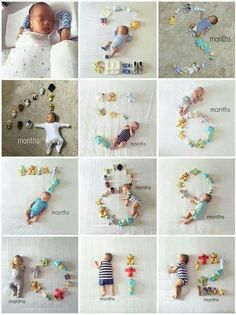 Baby monthly milestone pictures are great way to see how your baby grows up. It's great to look back on baby pictures and see how little they once were and share with family and friends. We found baby monthly milestone pictures to inspire you. Monthly Baby Photos, Baby Monthly Milestones, Newborn Baby Photos, Baby Poses, Newborn Pictures, Baby Newborn, Funny Baby Pictures, Milestones For Babies, Baby Growth Pictures