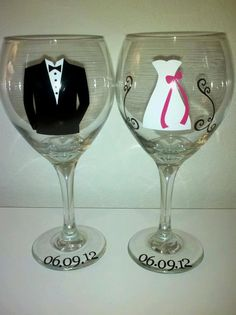 2 Personalized Bride and Groom Wine Glasses by SimplySouthernCharms, $24.00