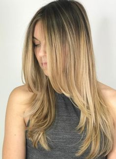Long Layered Blonde Balayage Hairstyle