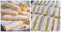 Vynikajúci dezert u kávičke. Potrebujeme: Cesto: Múka hladká – 500 g Maslo – 180 g Kyslá smotana – 300 g Jedlá sóda – 1/3 lyžičky Soľ štipka Práškový cukor – na posypanie Plnka: Vlašské orechy – 200 gramov, Cukor – 200 gramov, Vanilkový cukor – 1 vrecúško, Maslo (topené) – 50 g. Postup: Nasypte preosiatu... Hot Dogs, Ale, Biscuits, Ethnic Recipes, Food, Basket, Crack Crackers, Cookies, Ale Beer