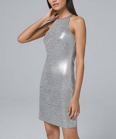 Metallic Halter Dress - Shop Women's New Arrivals - White House Black Market Sheath Dress, Bodycon Dress, White Halter Dress, Petite Dresses, Fashion Dresses, Clothes For Women, Metallic, House, Black