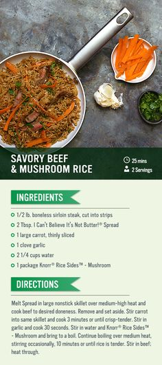 Bring the dinner date home with savory recipe for two that only takes 20 minutes. Combine sirloin steak with Knorr® Rice Sides™ - Mushroom for a family meal you can make in your own kitchen!