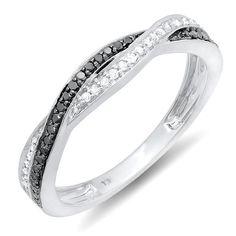 0.25 Carat (ctw) 10K White Gold Round Black & White Diamond Anniversary Wedding Band Swirl Matching Ring 1/4 CT (Size 6.5) DazzlingRock Collection, http://www.amazon.com/dp/B00BYJZ9DY/ref=cm_sw_r_pi_dp_Jw2trb1BZX5KX