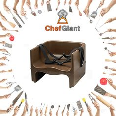 ChefGiant Double-sided Plastic Booster Seat, Brown  #ChefGiant #KitchenAccessories #Cookware #DoubleSidedPlasticBoosterSeat