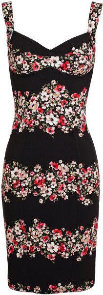 Dolce & Gabbana Floral Printed Crepe Dress in Black - Lyst