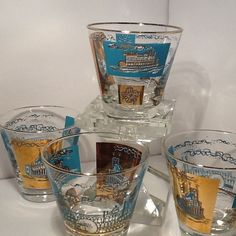 4 MCM  ROCK whiskey Glasses  Tourquoise   gold  Libby Riverboat steamboat