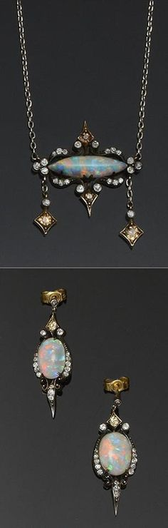 Art Nouveau opal & diamond necklace & earrings