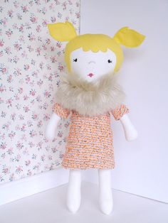 One of a kind handmade fabric doll by ohbAbyseattle click for more info