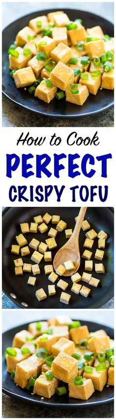 CRISPY Tofu the EASY way! No baking, pressing, or frying required. Use this trick to cook tofu that comes out perfectly every time. Great for any of your favorite stir fries, dipping sauces, and even salad! @Well Plated