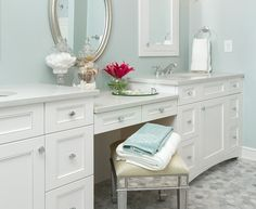 double vanity with makeup counter. Innovative wicker hamper in Bathroom Traditional with Master Bath  Double VanityWhite Serene Sanctuaries AH L Micoley s picks for luxuriousBathrooms
