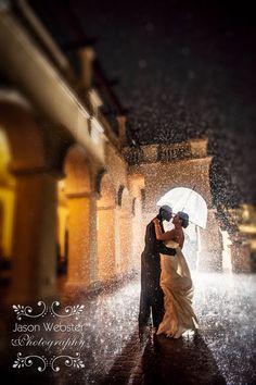 Wedding rain shot, embracing the rain on your wedding day, romantic rain photography  www.jasonwebsterphotography.com