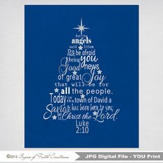 Luke 2 Bible Verse Christmas Tree Subway Art - INSTANT DOWNLOAD PRINTABLE Digital File - Scripture Art - Great Christmas Decoration