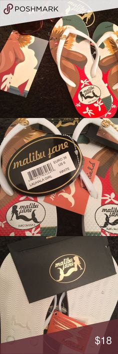 """🌟NWT🌟 Malibu Jane Flip Flops ☀️🕶 🌟NEW WITH TAGS🌟Size 6 Malibu Jane """"Lauhala Girl""""  Flip Flops!! 🌺☀️🕶Hawaiian artist Mike Fields special edition.  Collector's postcard included along with Malibu Jane sticker. Malibu Jane Shoes Sandals"""