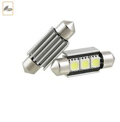 2 x 36mm 3 SMD 5050 LED Canbus Error Free Dome Festoon Light w Heatsink › See more product details