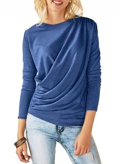 #Oasap - #oasap Blue Long Sleeve Draped Round Neck Tee Shirt - AdoreWe.com