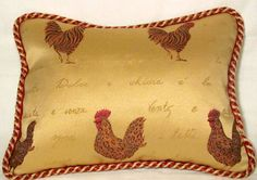 Gold Rooster Pillow