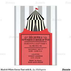 Black & White Circus Tent with Red Ticket Birthday 5x7 Paper Invitation Card