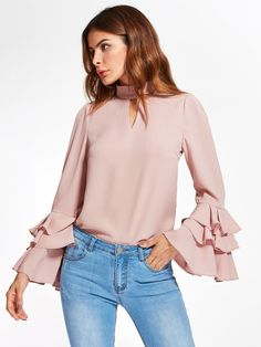 SheIn offers Exaggerate Bell Sleeve Keyhole High Neck Top & more to fit your fashionable needs. Ruffle Shirt, Ruffle Sleeve, High Neck Top, Blouse And Skirt, Casual Fall Outfits, Women's Fashion Dresses, Dress Patterns, Chiffon Tops, Fashion Models