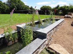 2 formal ponds linked with waterfall - Google Search Pond Waterfall, Garden Bridge, Outdoor Structures, Ponds, Waterfalls, Google Search, Formal, Preppy, Falling Waters