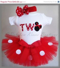 On Sale 2nd Minnie Mouse Birthday Outfit Minnie by RBKBoutique, $32.00