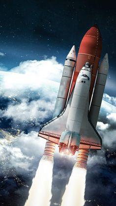 Rocket Heading Towards Space IPhone Wallpaper - IPhone Wallpapers