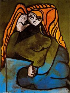 """Portrait of Madame H.P 1"", Oil by Pablo Picasso (1881-1973, Spain)"