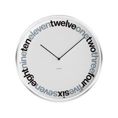 """Wall Clock // Ring-Time $39.99 ($59.00 retail)  The visual narrative of this unique dial design uses the iconic Helvetica font to mark time in a stylized two-toned ring of word-numbers. With its whisper-quiet Quartz movement, it's a reliable time-teller with something to add to your home's aesthetic.   Product Details — Modern Wall Clock  — 15"""" Diameter, 2"""" Deep"""