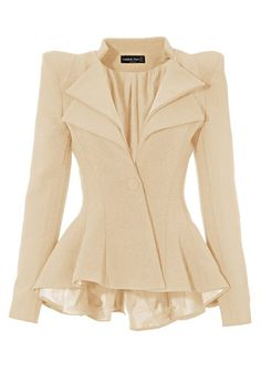LookbookStore Women Double Notch Lapel Sharp Shoulder Pad Asymmetry Blazer (TO-373_13-6, Champagn)