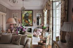 Architectural Digest, English Style, French Country Style, Style Cottage, Deco Rose, Shabby Chic Stil, Interior Exterior, Palace Interior, Interior Livingroom