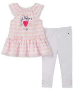 NEW BABY GIRLS 2 PIECE STRIPE FISH BOW TUNIC LEGGINGS OUTFIT 0-3-6-12 MONTHS