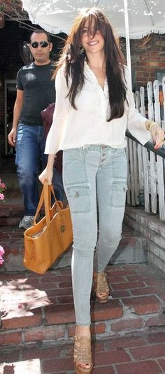 5a1a996d7715a Who made Sofia Vergara's nude platform sandals and pants? Shoes – Yves  Saint Laurent Pants – Rich and Skinny