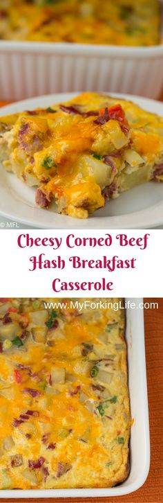 This Cheesy Corned Beef Hash Breakfast Casserole is the perfect breakfast for a crowd. It's quick, easy, and tasty. It can be made ahead too. Healthy Potato Recipes, Beef Recipes, Cooking Recipes, Casseroles Healthy, Dog Recipes, Budget Recipes, Hamburger Recipes, Fruit Recipes, Yummy Recipes