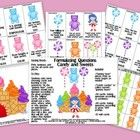 """This activity includes 100 CARDS targeting FORMULATING QUESTIONS!    This Packet Includes:    """"Gummy bear"""" pieces (print as many pages as needed), """"Can..."""