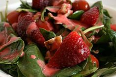 Green Salad with Strawberry Balsalmic Vinaigrette {yummy!}