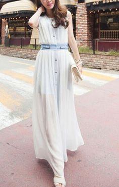 Belted Maxi Chiffon Dress
