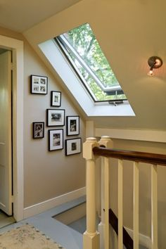 Traditional Staircase by Smith & Vansant Architects PC A a well-placed skylight can be used to raise the ceiling height where it's needed most. It also brightens the room and provides the opportunity for ventilation. Attic Renovation, Attic Remodel, Restored Farmhouse, Traditional Staircase, Traditional Exterior, Floor To Ceiling Windows, Skylight Window, Roof Window, Attic Window