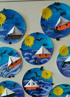 Terrific Free of Charge ocean Crafts for Kids Tips Returning to classes can be quite a scary time period for any child. It is really a difference toget Kindergarten Art, Preschool Crafts, Fun Crafts, Crafts For Kids, Boat Crafts, Projects For Kids, Art Projects, Ocean Crafts, Paper Plate Crafts