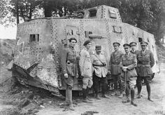 French and British officers by the German A7V tank Elfriede, captured near Villers-Bretonneux on 24 April 1918. Saleux, 18 May 1918.