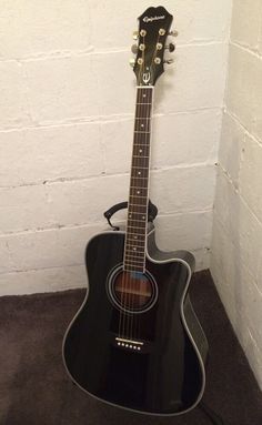 #EPIPHONE FT-350SCE, Min-ETune Replaced W/ Grovers Shadow ePerformer Preamp Black, $299.90