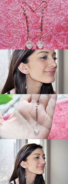 Beach Glass - Surf-Tumbled 41221: Sea Glass Jewelry Beach Earrings Swinging Longs Beaded Sterl Silver Blues 8484C -> BUY IT NOW ONLY: $31.99 on eBay!