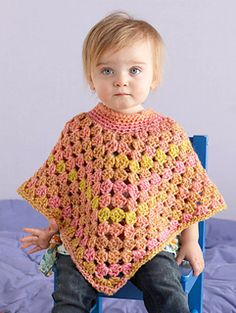 Child's Poncho -- Looks like Coming Home without the lacy edging Lion Brand Pattern #: L0688