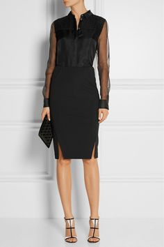 Jason Wu | Lace-trimmed silk-organza shirt | EDITORS' NOTES & DETAILS Crafted in the USA from silk-organza, Jason Wu's shirt is a polished and versatile addition to after-dark wardrobes. This mid-weight style is designed with sheer sleeves, lace trims and smooth silk lining through the body. Wear it with a pencil skirt and statement sandals for evening events.