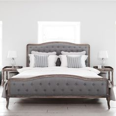 Chantal Bed - Grey Linen & Oak | Brissi